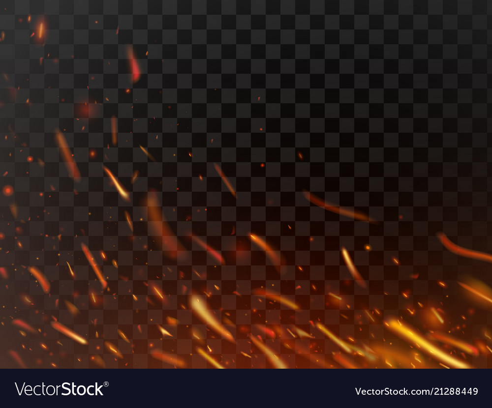 Close-up hot fiery sparkles and flame particles