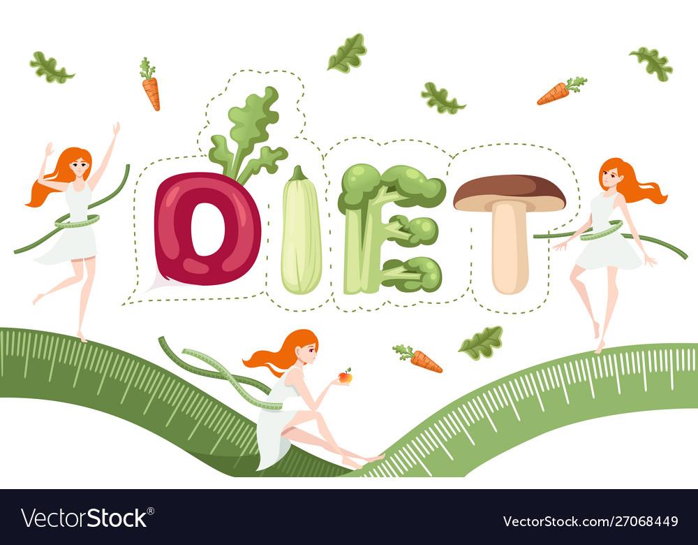 Diet style cartoon vegetable design on white plate