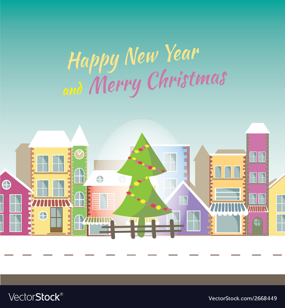 happy new year greeting card banner with small vector image