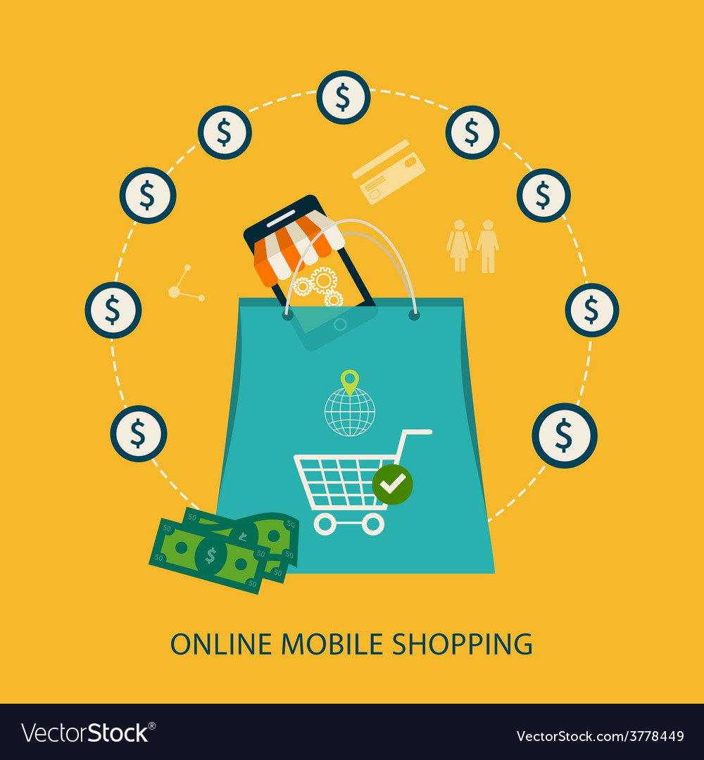 Icons for mobile marketing and online shopping vector image on VectorStock