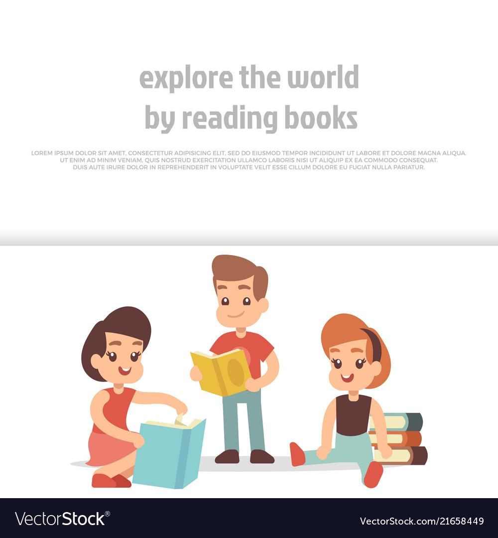 Little kids reading books cartoon character