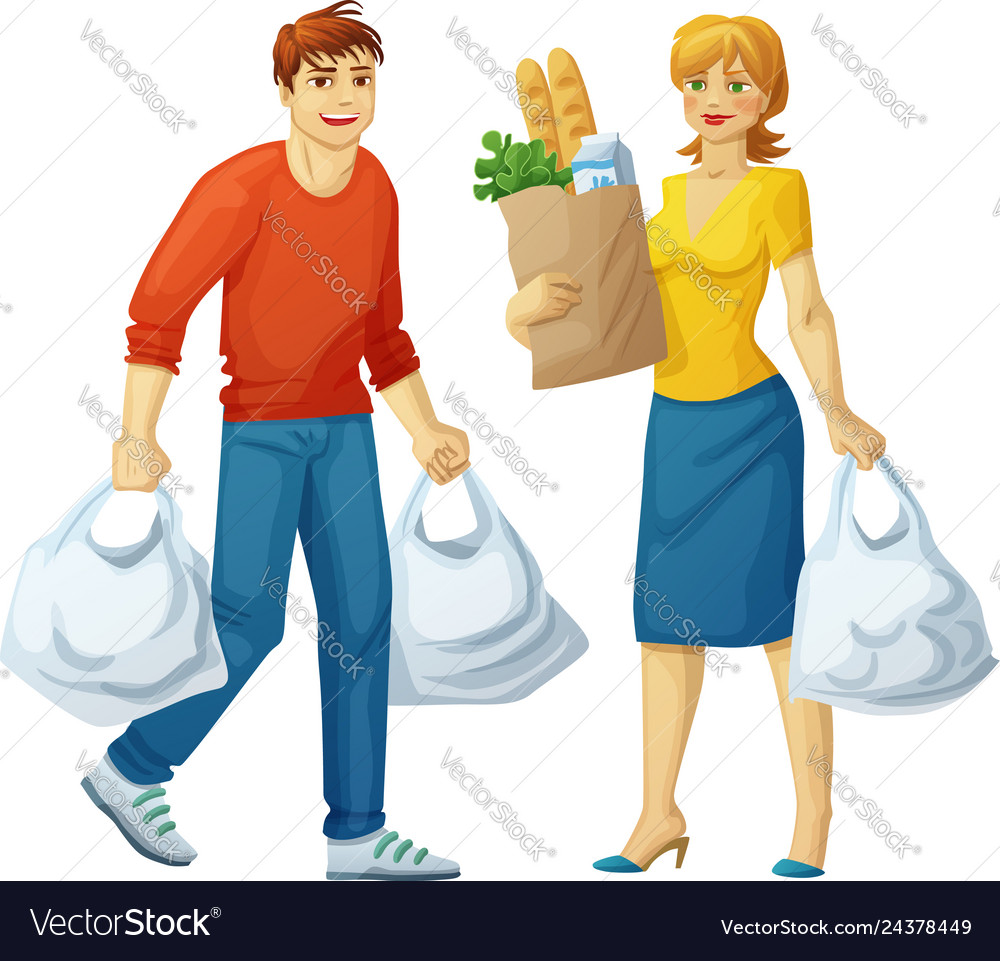 Man and woman with grocery bags isolated on white