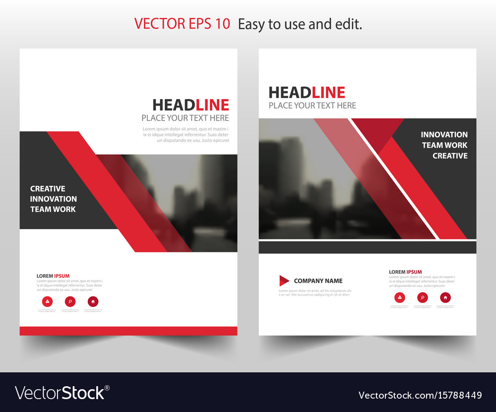 Red triangle abstract annual report brochure vector image