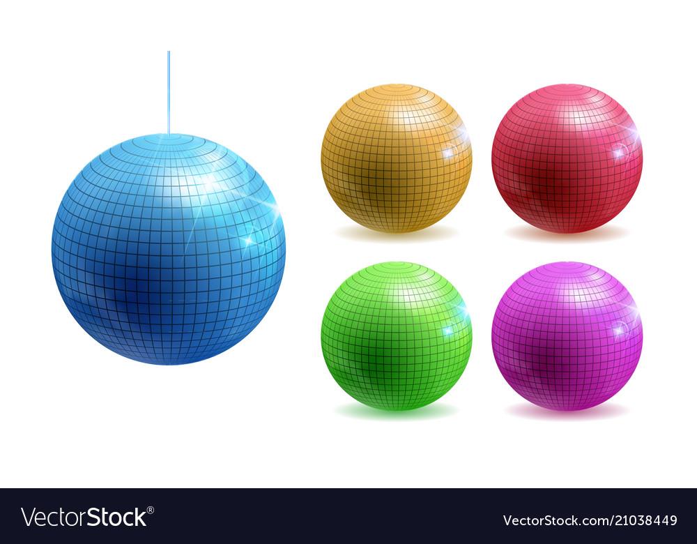 Set disco balls disco background