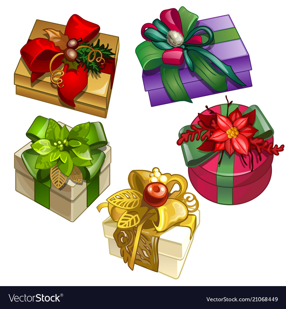 Set of gift boxes tied with ribbons with a