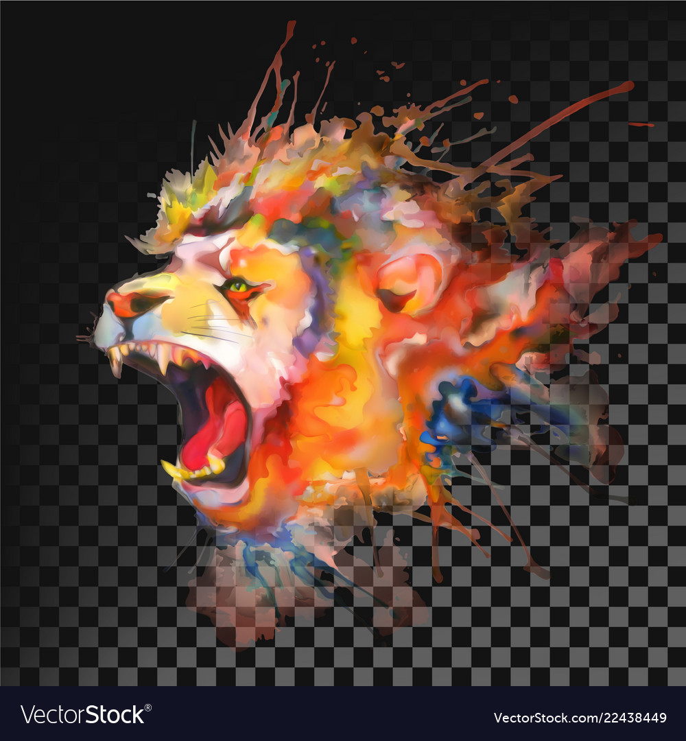 Watercolor painting roaring lion transparent on