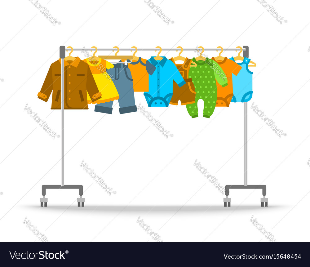 Baby clothes on hanger rack flat