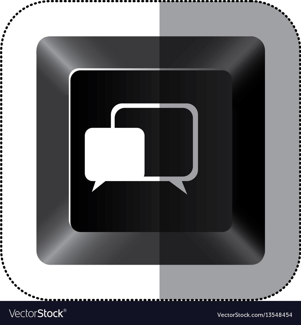 Black button square bubble icon