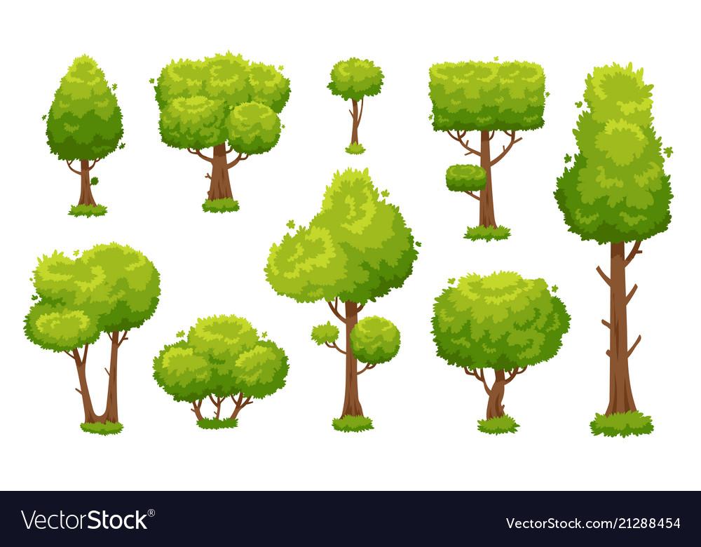 Cartoon green tree environmental forest or park