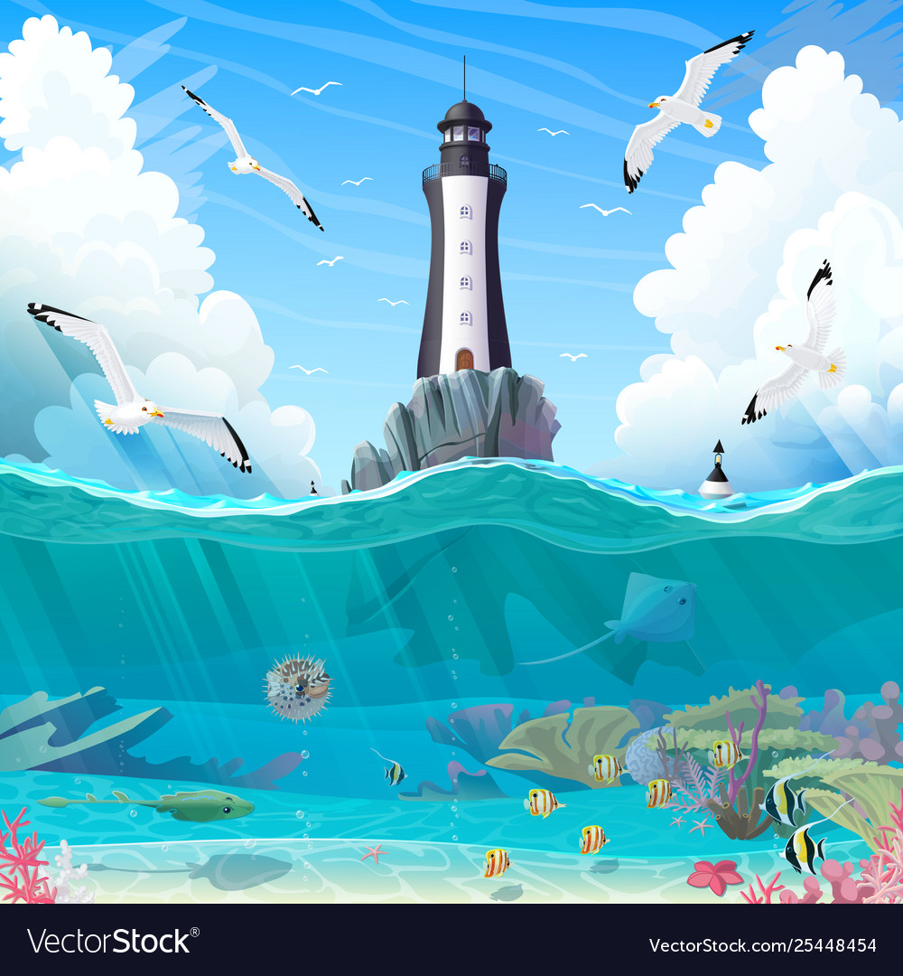 Peachy Cartoon Lighthouse Sea Clipart Interior Design Ideas Pimpapslepicentreinfo