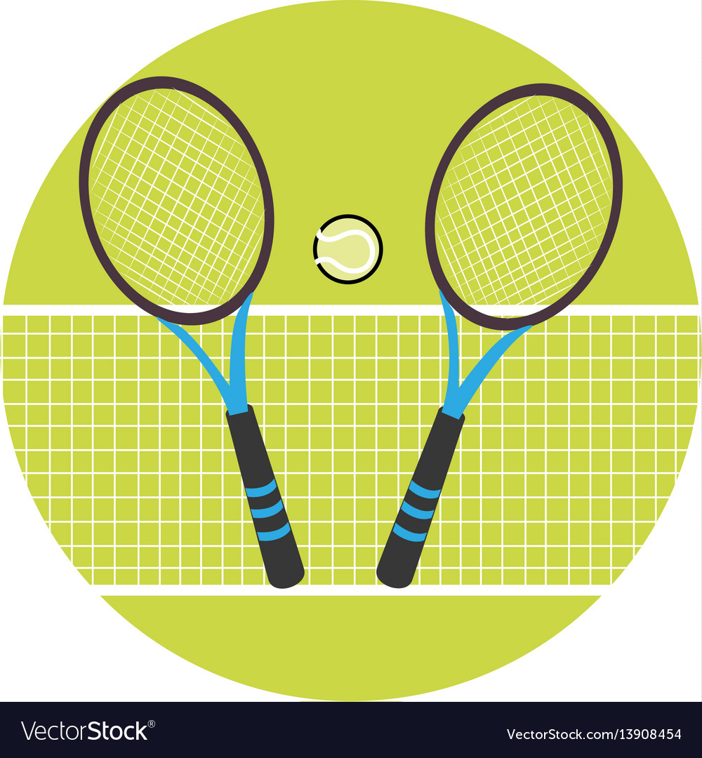 Color circular frame with ball and net and tennis
