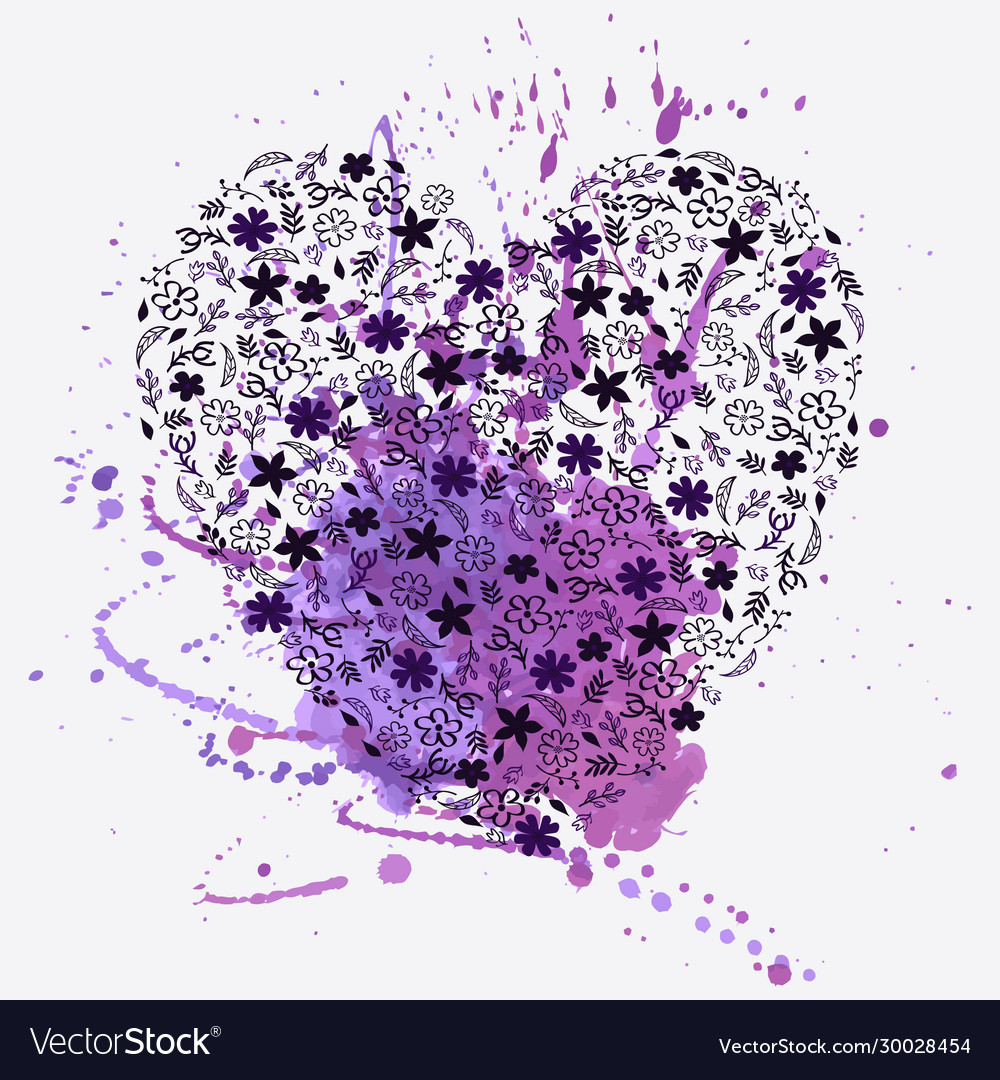 Floral heart and watercolor splash