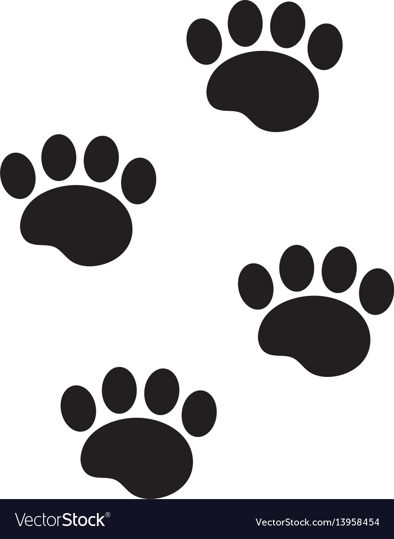 Foot marks of an animal icon flat cartoon style