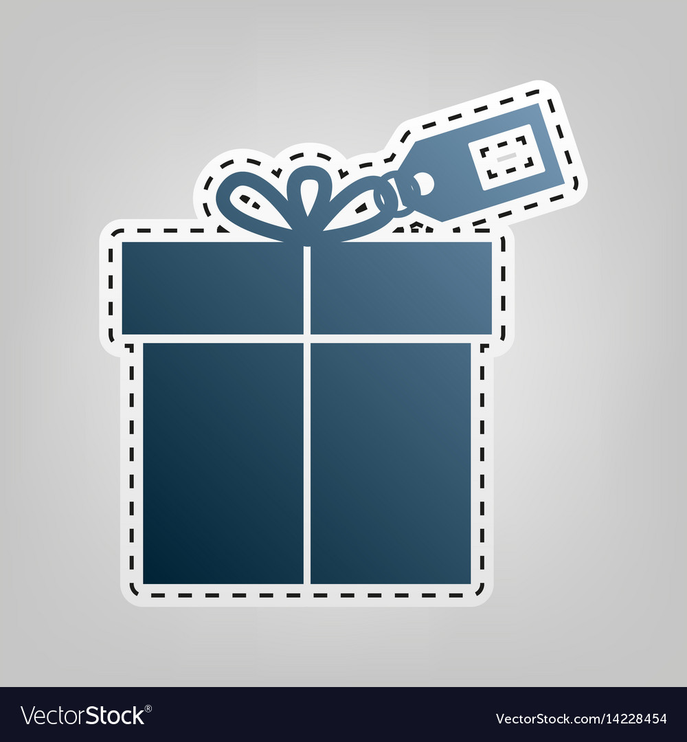 Gift sign with tag blue icon with outline