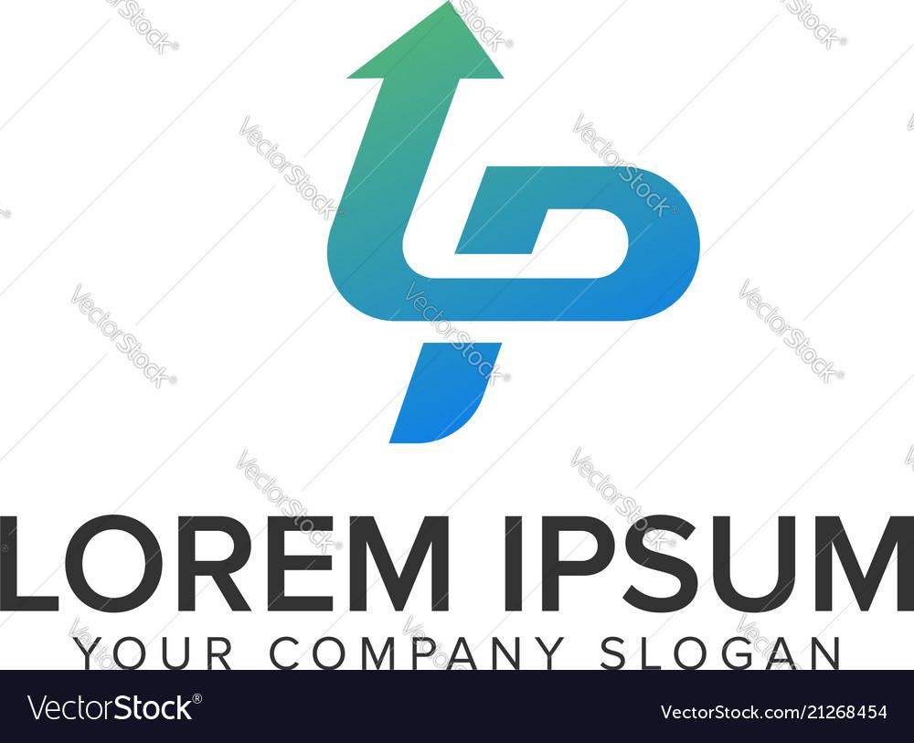 Letter p arrow logo design concept template