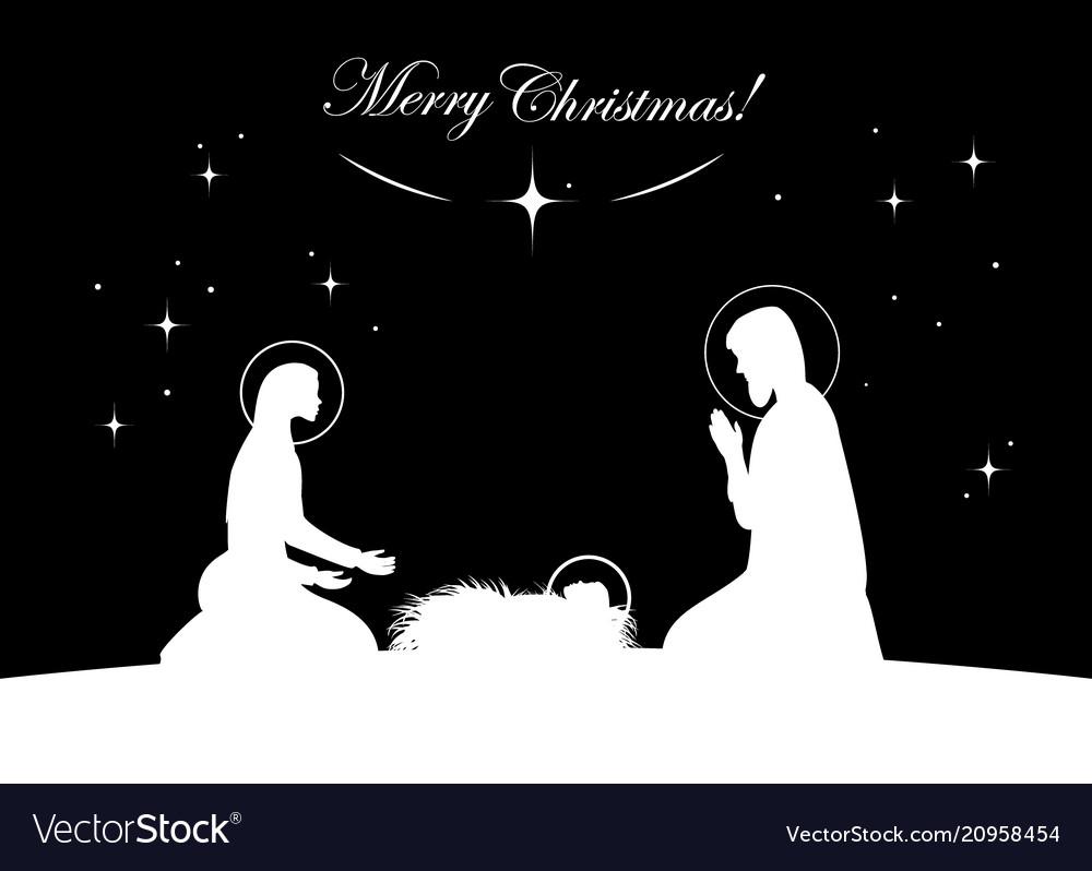 Nativity scene white on black
