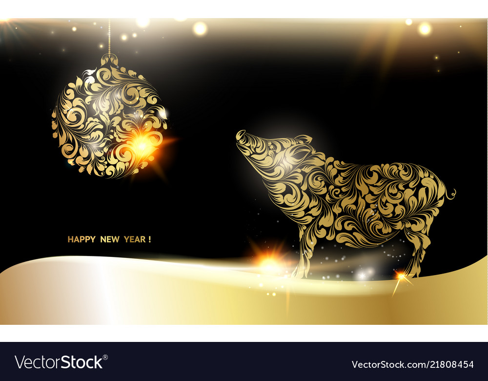 Pig silhouette over golden christmas card