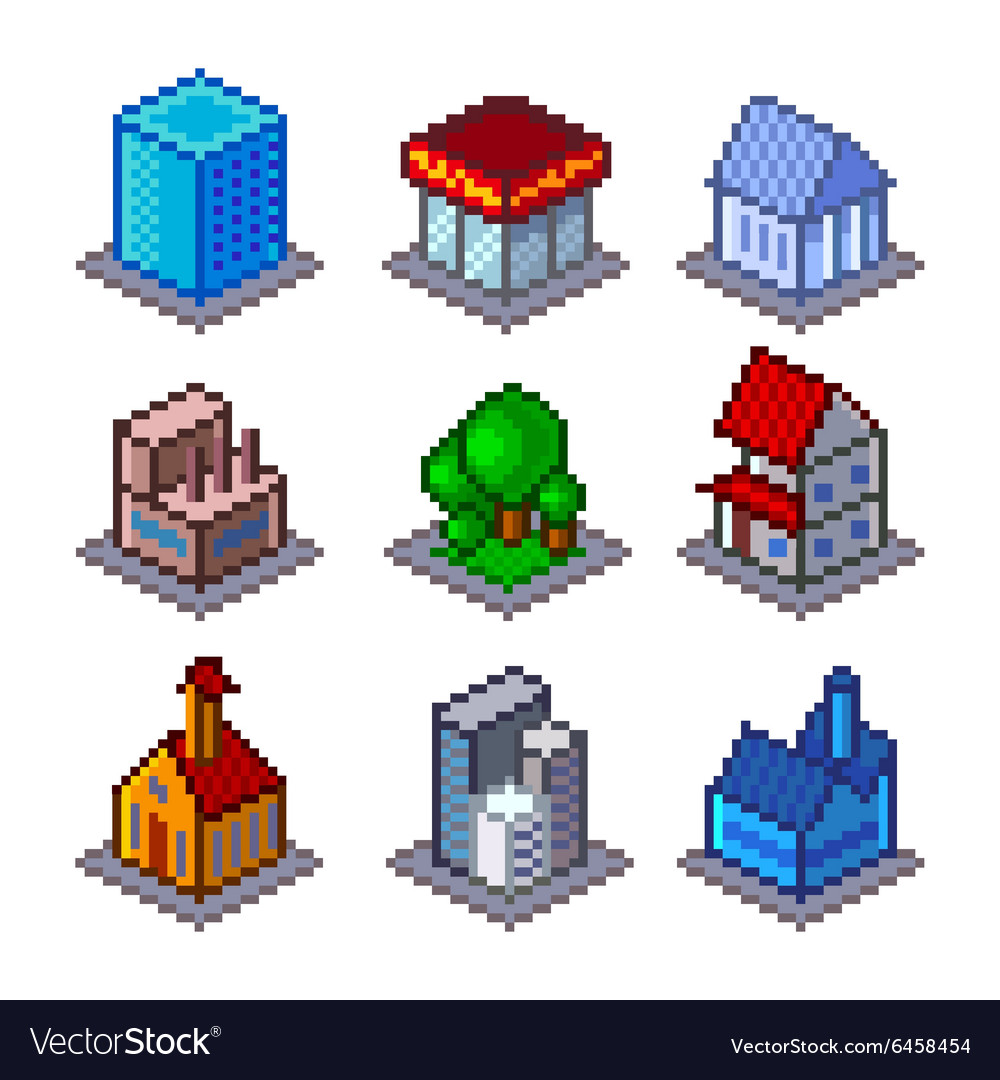 Pixel isometrical city buildings icons set