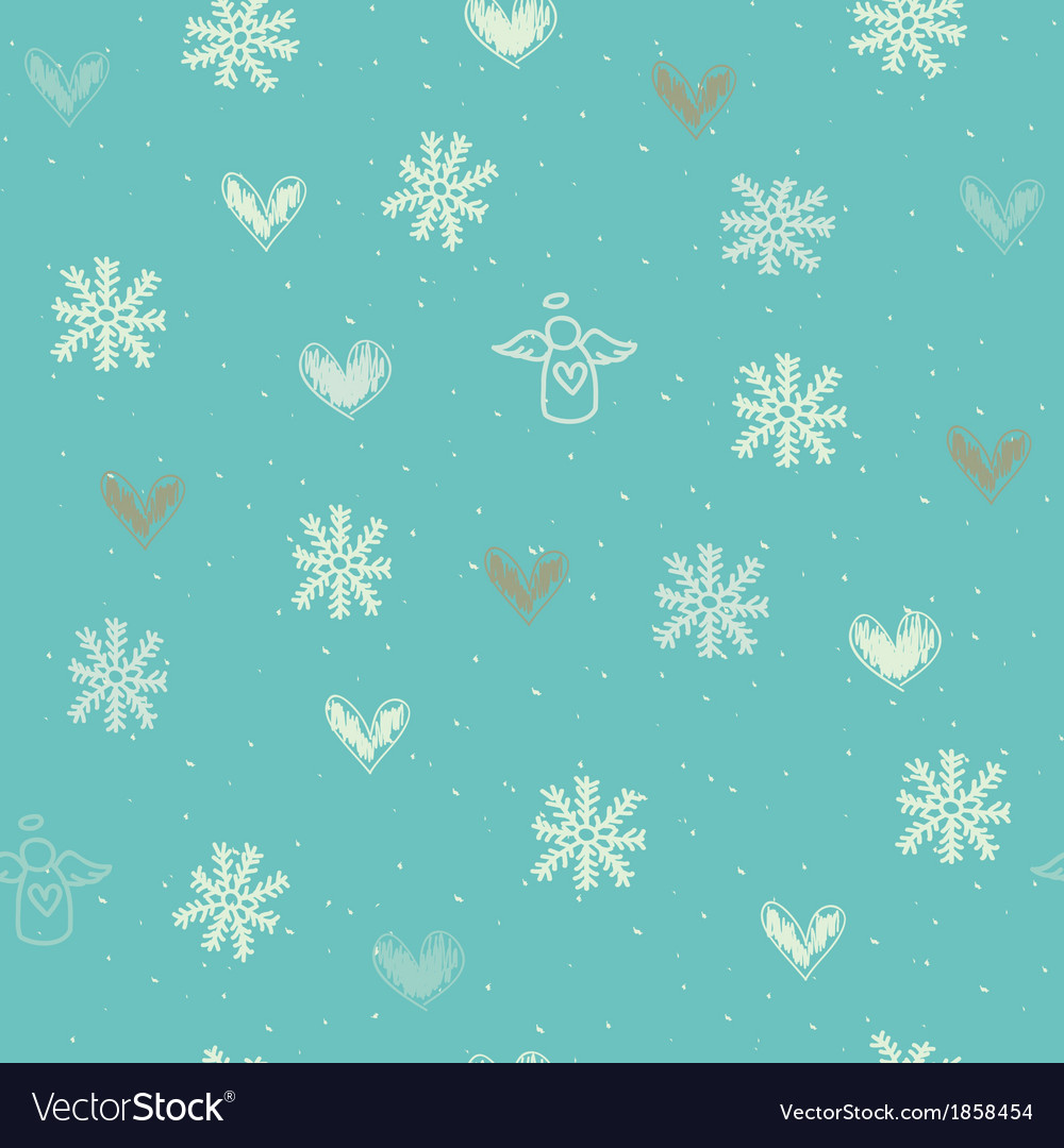 Angels Christmas Background.Seamless With Snowflakes Hearts And Angels