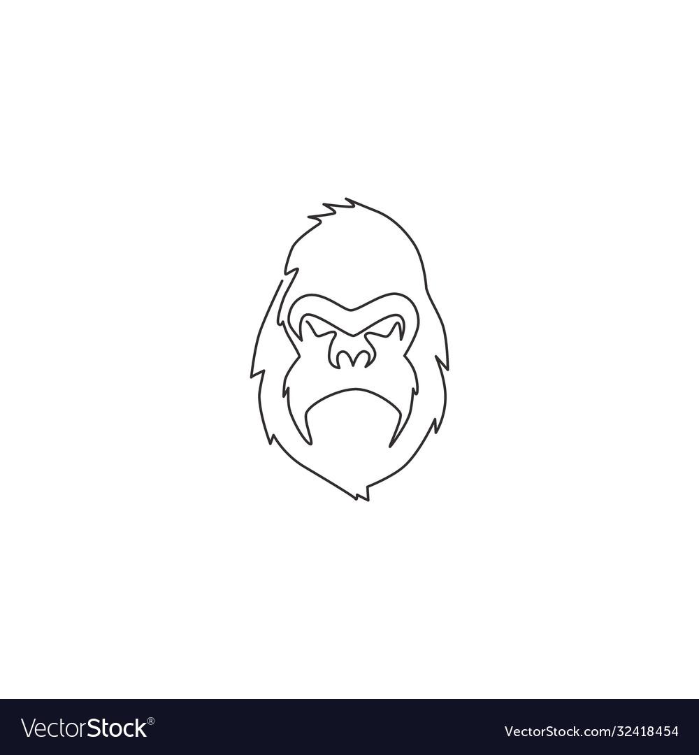 Single continuous line drawing gorilla head