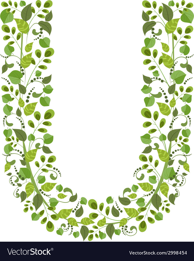 Spring green leaves eco letter U Royalty Free Vector Image