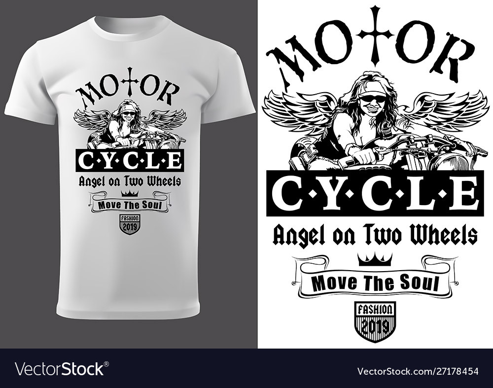 T Shirt Design With Motorcyclist Woman Royalty Free Vector