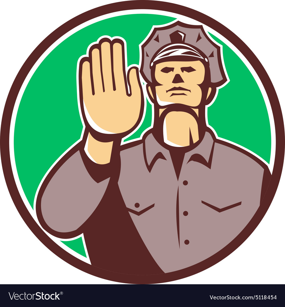 Traffic Policeman Hand Stop Sign Circle Retro