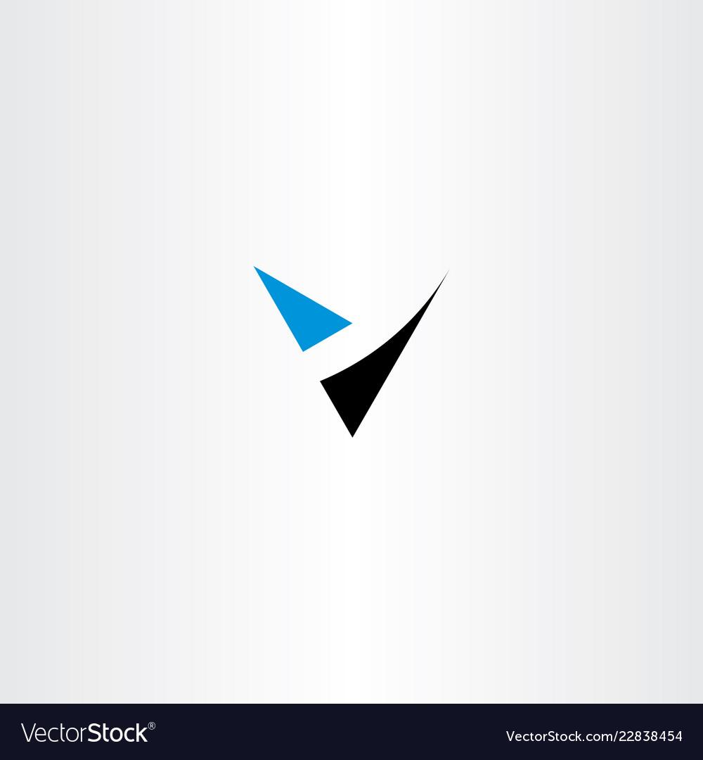 V letter blue black logo icon element