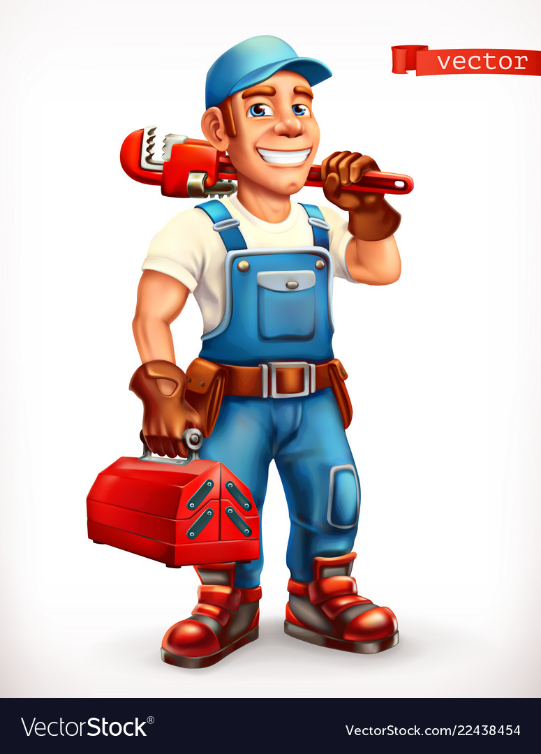 Worker repairman cheerful character 3d icon