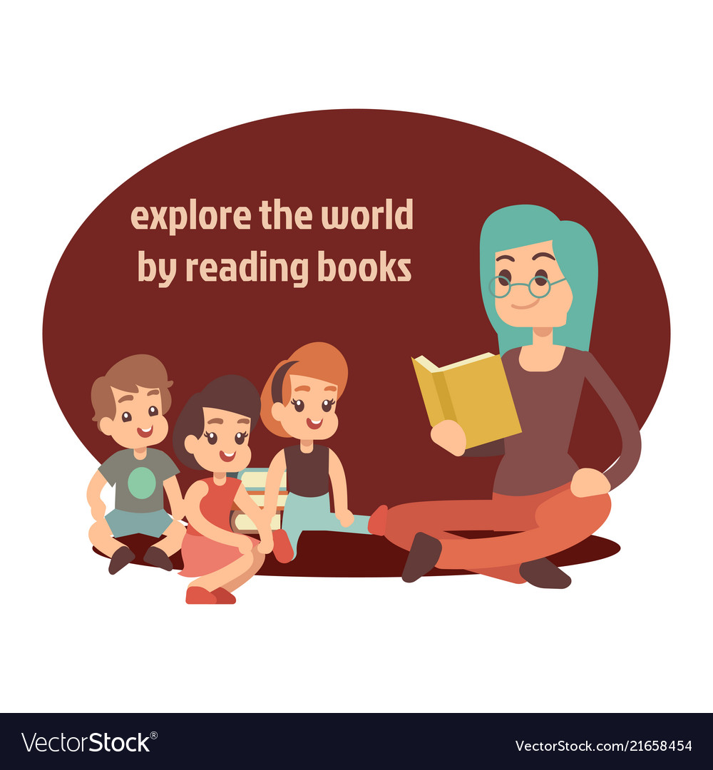 Young teacher and happy kids reading book