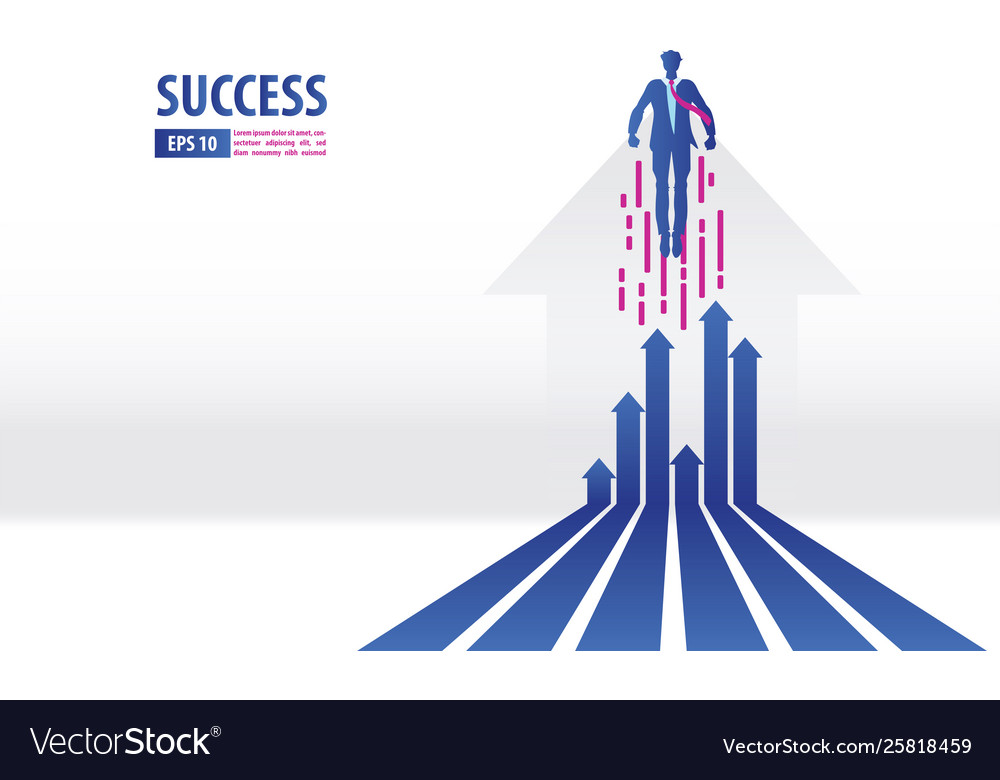 Business arrows concept with businessman flying
