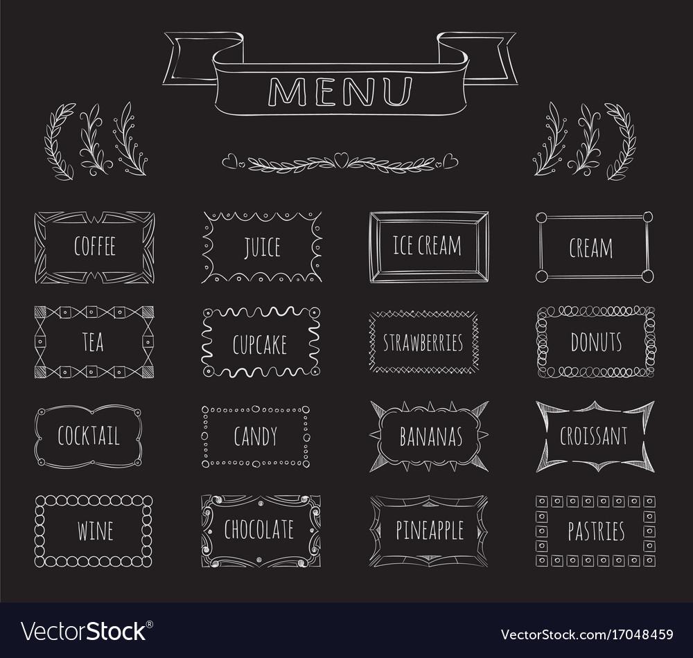 Cafe blackboard menu hand drawn set