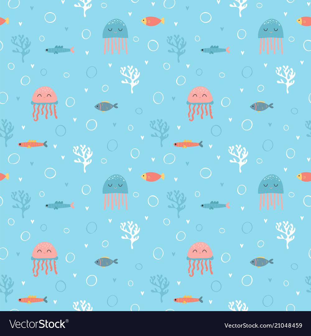 Childish seamless pattern with cute hand drawn