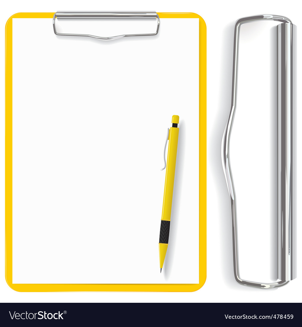 Clipboard paper sheet and pen vector image