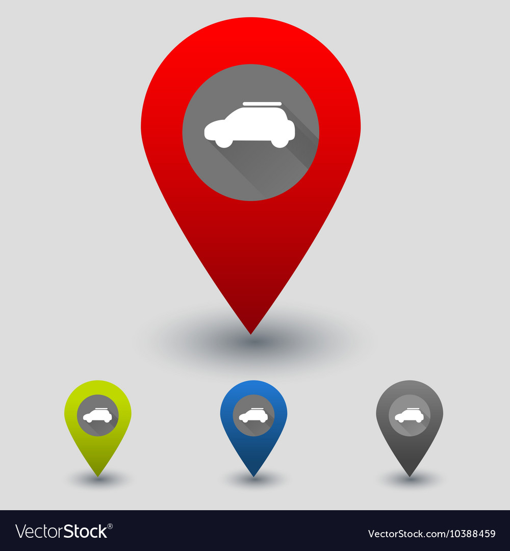 Colorful navigation signs with car vector image