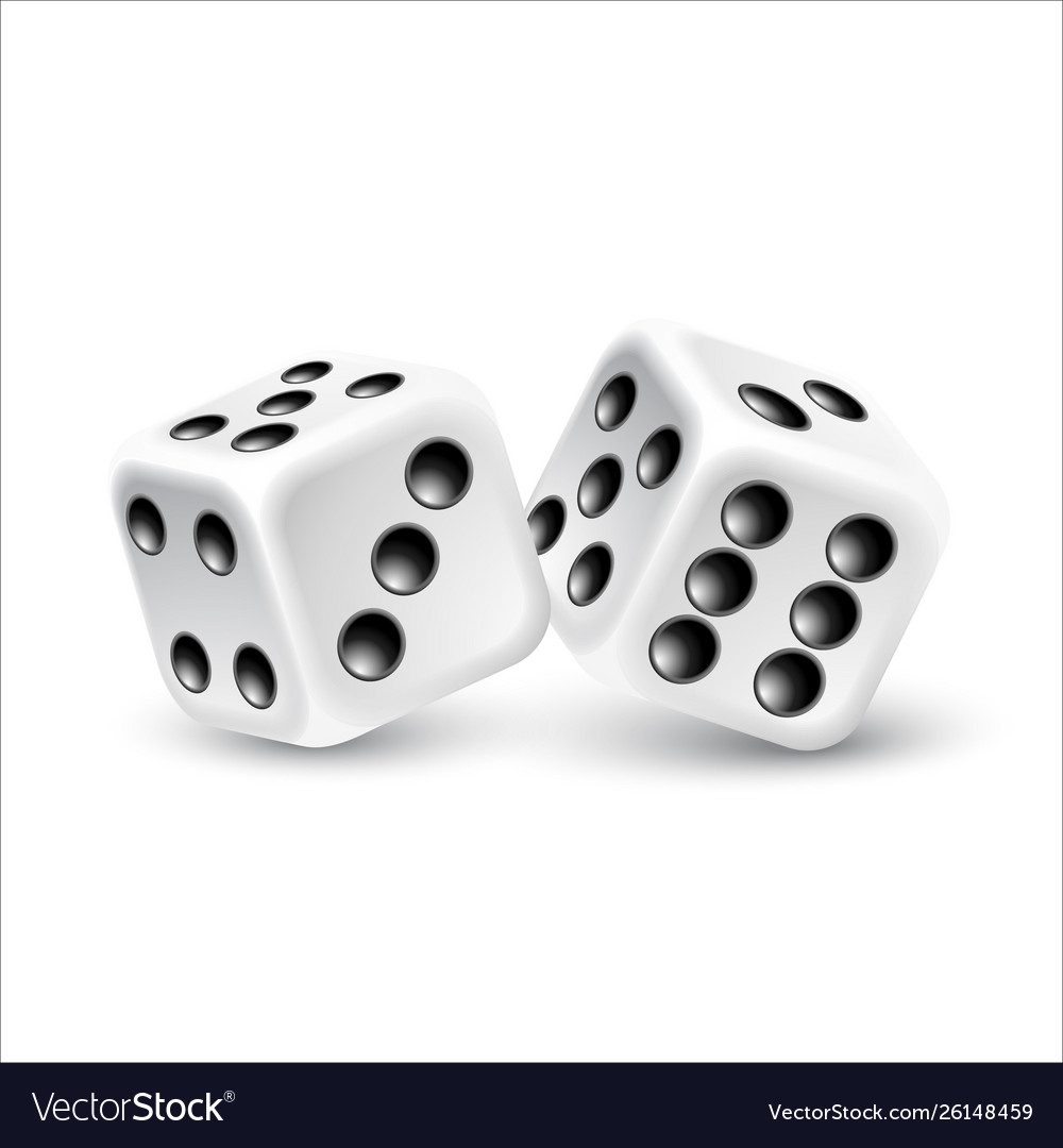 Dices on a white background
