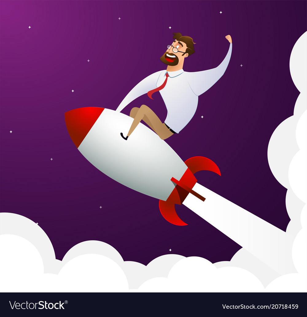 Happy cartoon businessman sitting on rocket ship