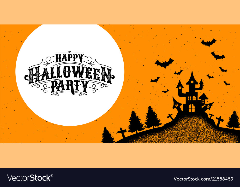 Happy halloween party calligraphy logo ghost