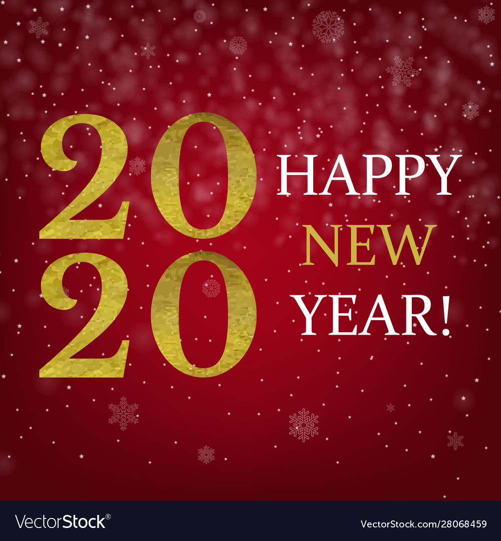 Happy new year card with golden text