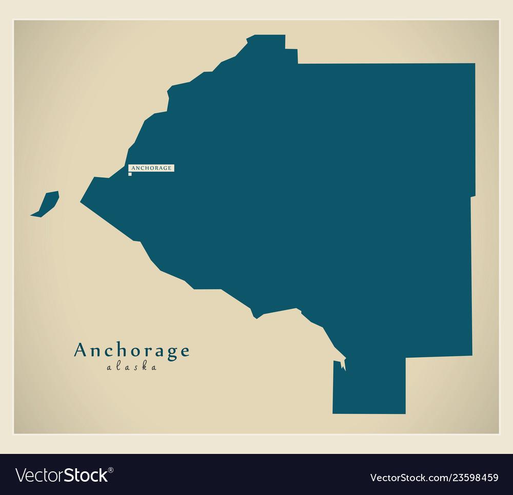 Modern map - anchorage alaska county usa Vector Image