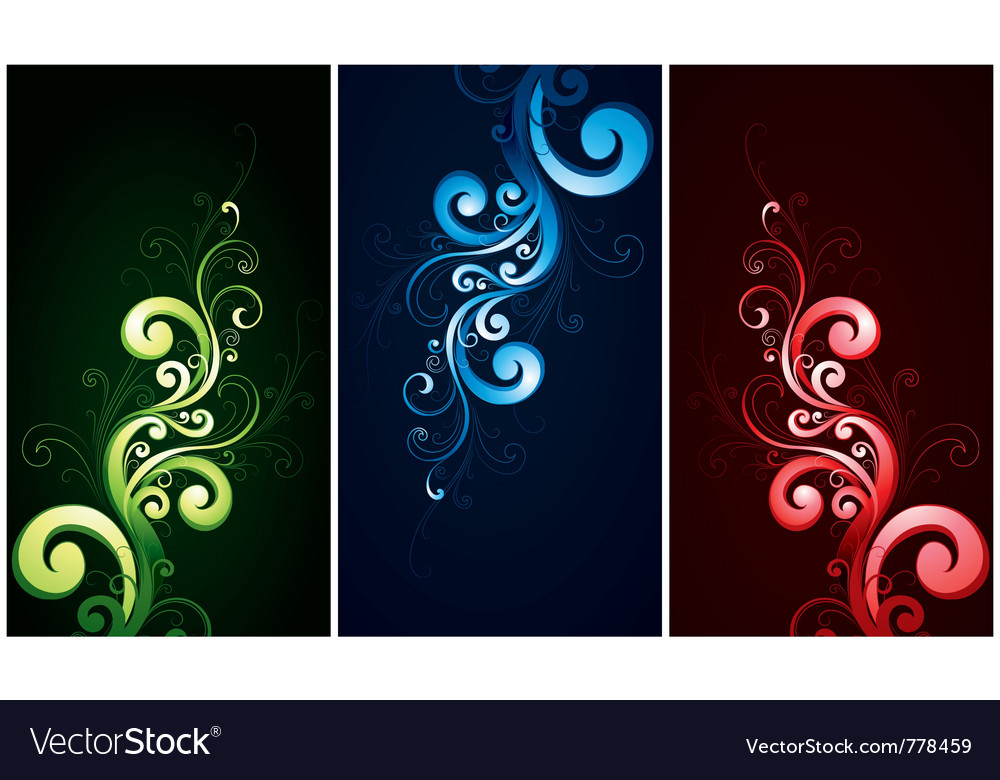Red green and blue flourishes
