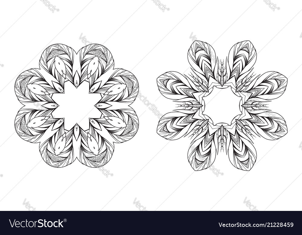 Set of black and white round mandala frames with a vector image