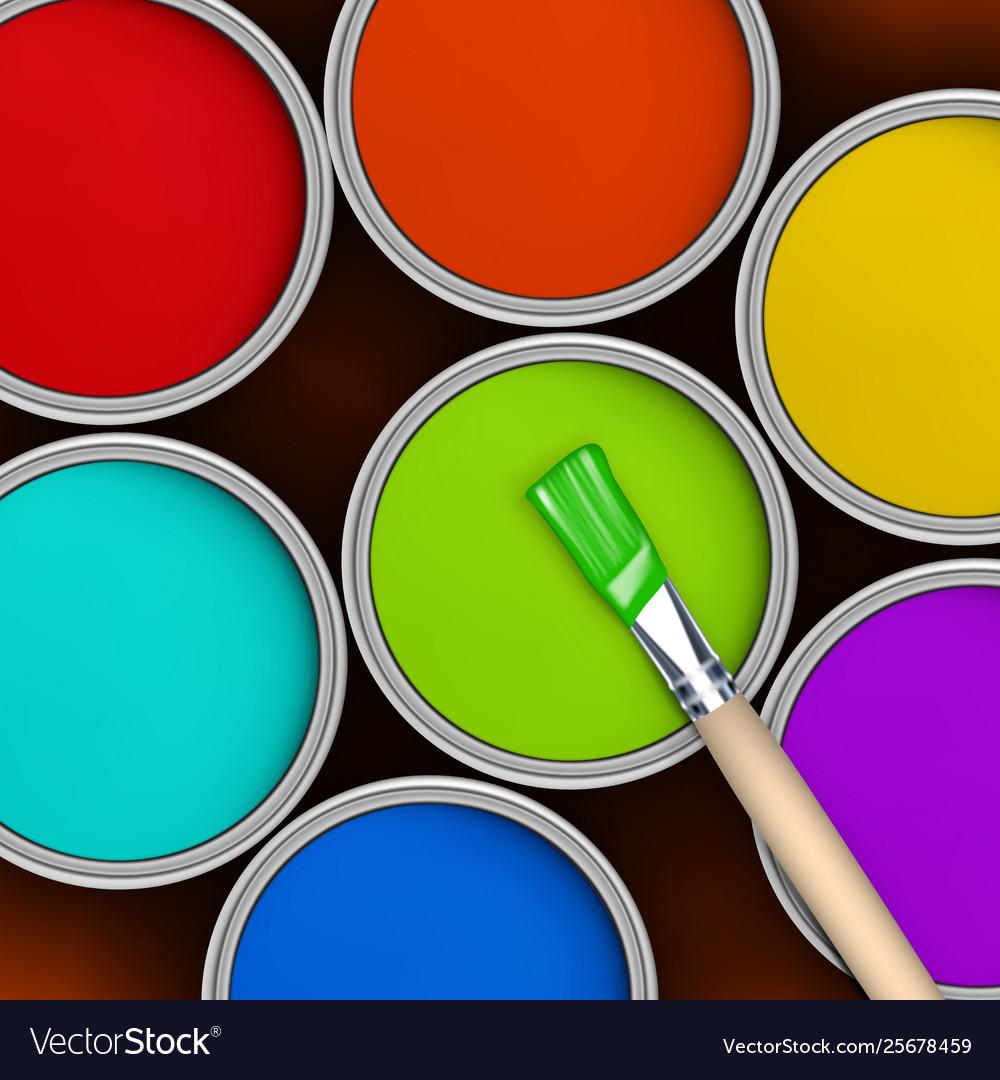 Seven colors rainbow colorful paint jars