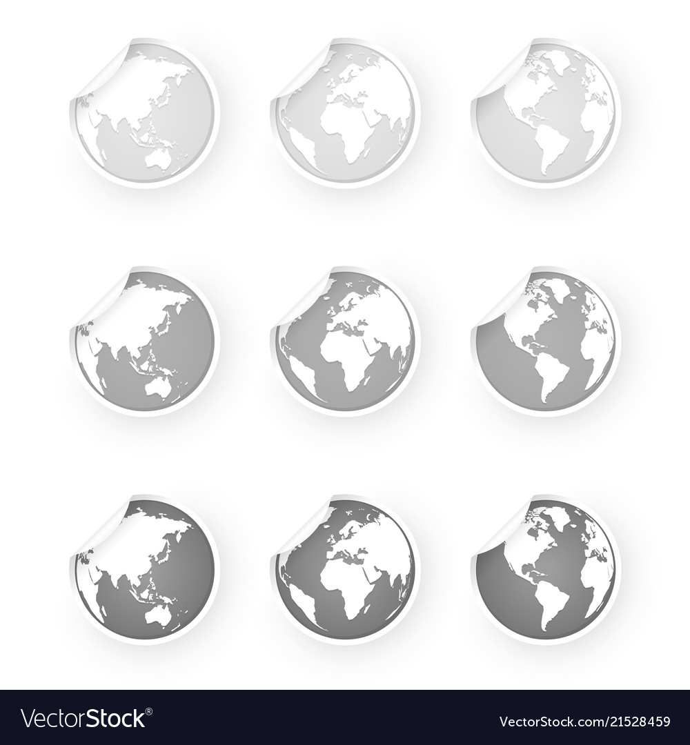 Silver gray world globe icons stickers set