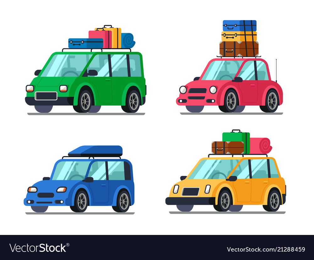 Travel cars car with tourism gear and baggage