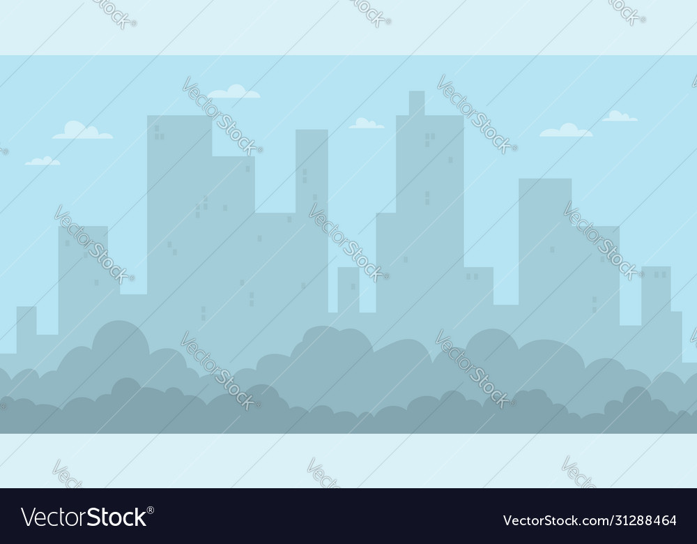 Cartoon flat city landscape and skyscrapers