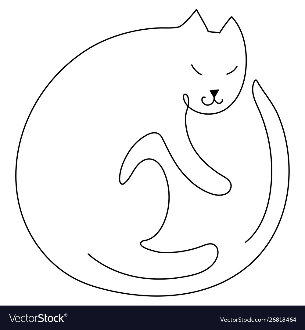 Cat silhouette line art style drawing