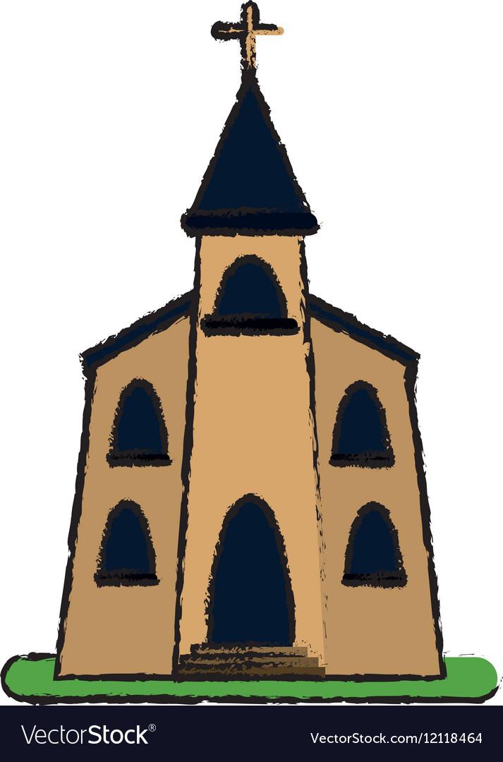 Church building religious christian sketch