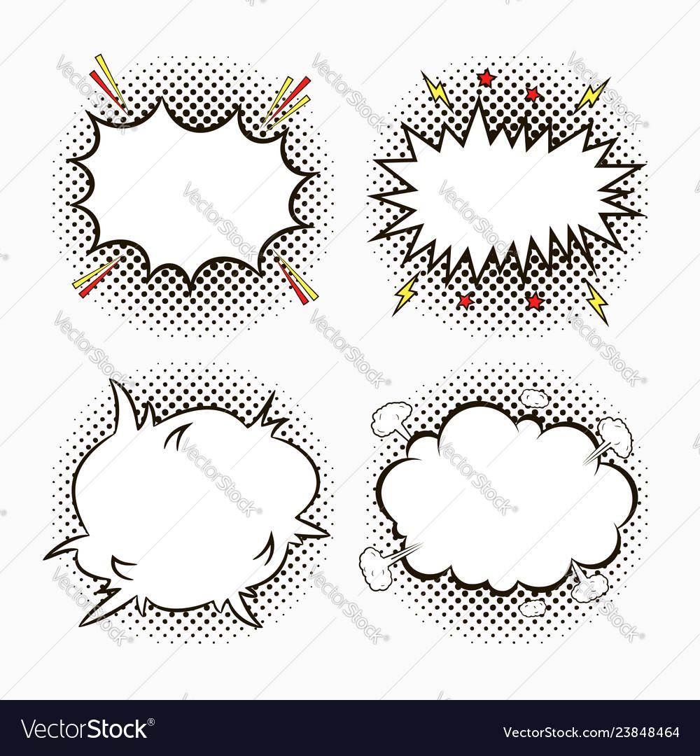 Comic pop art speech bubbles on halftone dots
