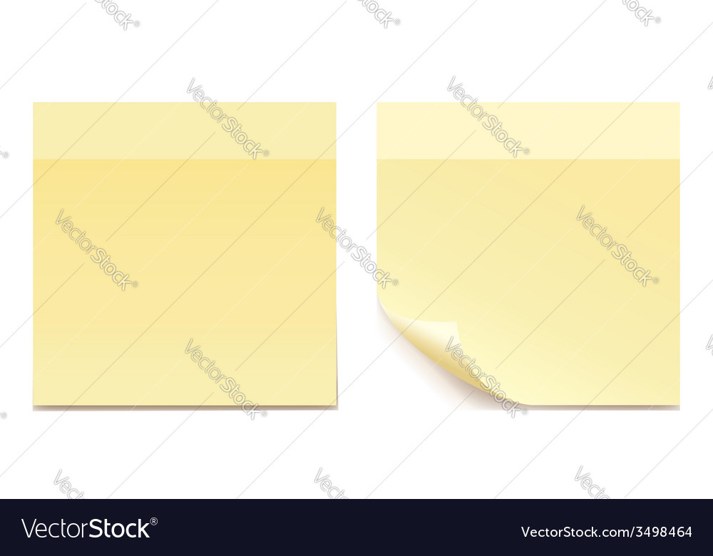 Empty yellow sticker paper for reminding - set